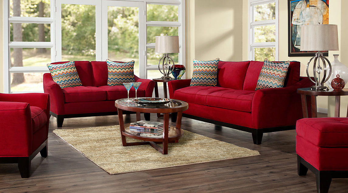 red sofa white living room interior design divider beige furniture decorating ideas cindy crawford set with loveseat and chair