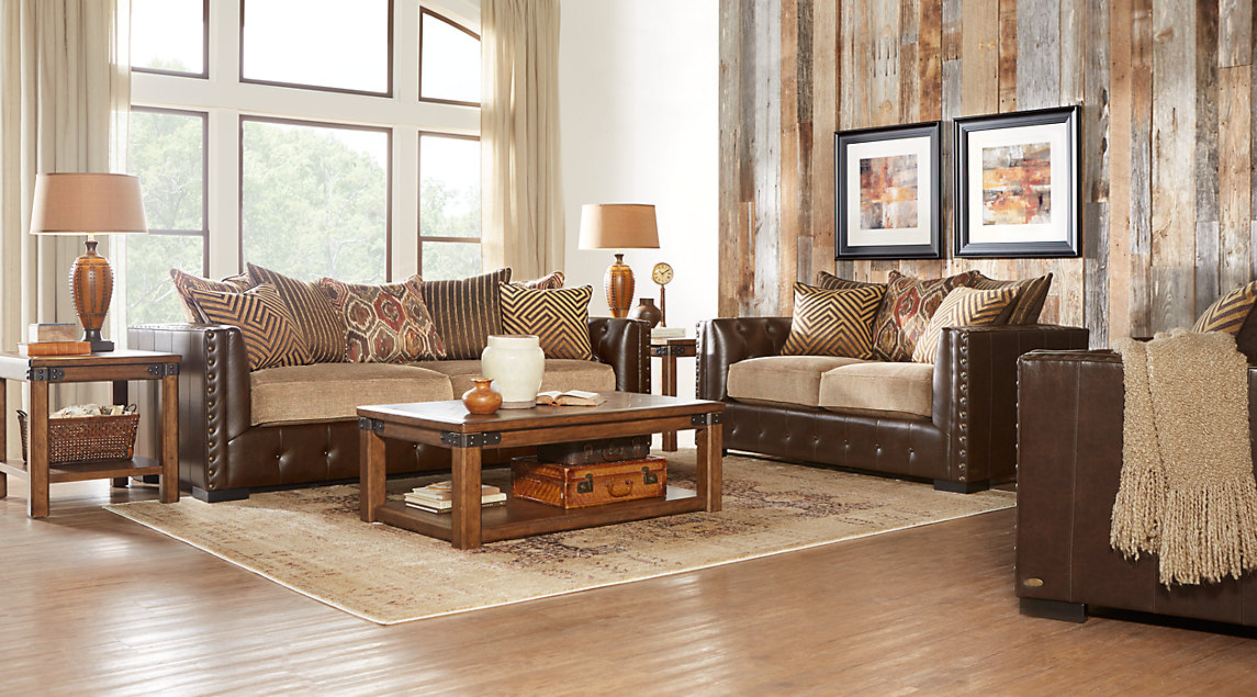 living room with brown leather couch ideas wall stickers beige white furniture decorating eric church set sofa cushions rustic wood coffee table