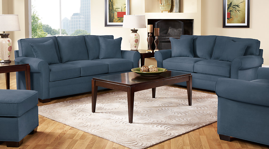 navy blue living room furniture country ideas images gray white decor cindy crawford set with sofa loveseat and chair