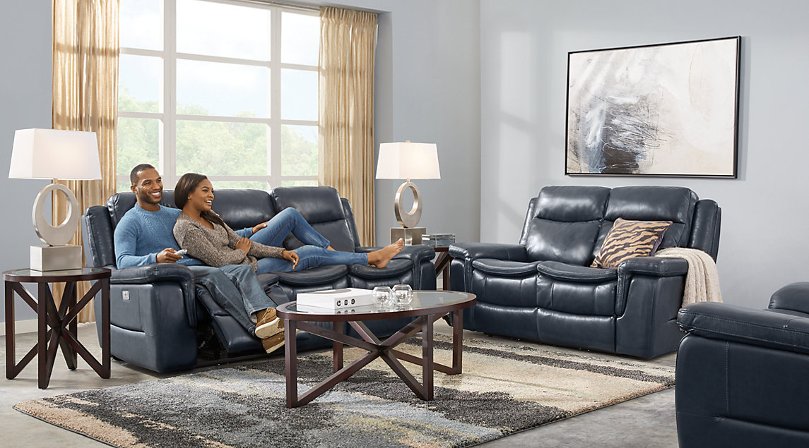 navy blue living room furniture theatre menu gray white decor ideas milano set with leather sofa loveseat and recliner