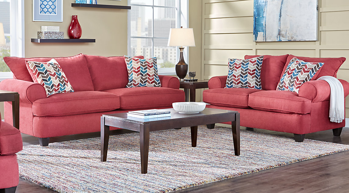 red sofa white living room carpet size beige furniture decorating ideas park square set with and loveseat