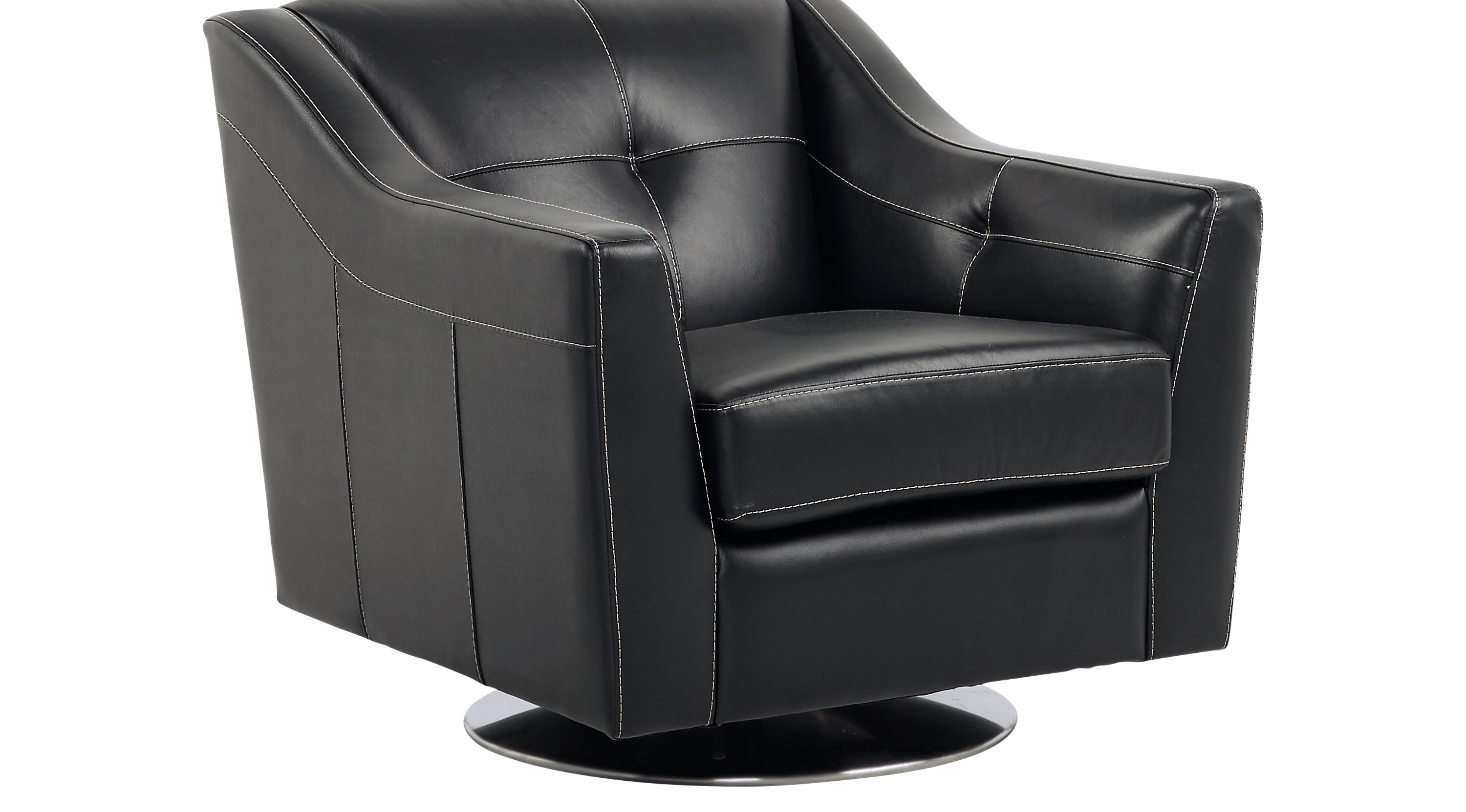 54999  Santoro Black Leather Swivel Chair  Contemporary
