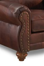 rolled arm sofa with nailhead trim reading blackburn sofascore vendor 411 noble s64lu stationary leather ...
