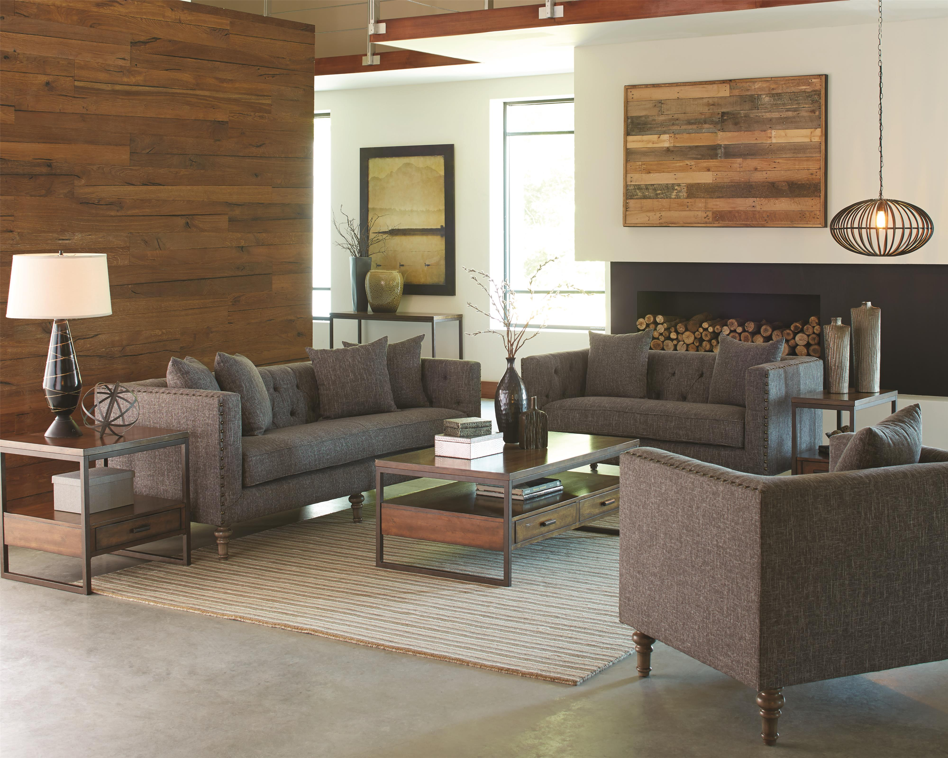 living room with loveseat and chairs interior design for small apartment coaster ellery stationary group value city furniture