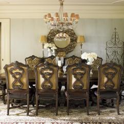 Lexington Dining Chairs Yume Massage Chair Florentino Magnificent Carved Pedestal Table With Wood Inlays Lindy S Furniture Company Tables