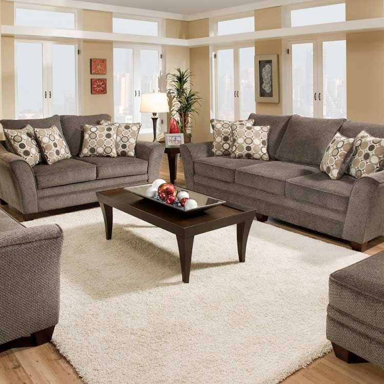 living room outlet decorating ideas red walls shop furniture at conlin s montana north dakota gray sofa set