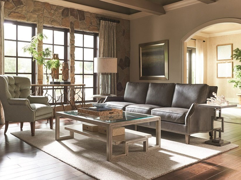 leather and fabric sofa in same room west elm sectional sleeper mixing a with upholstery pieces baer s living group