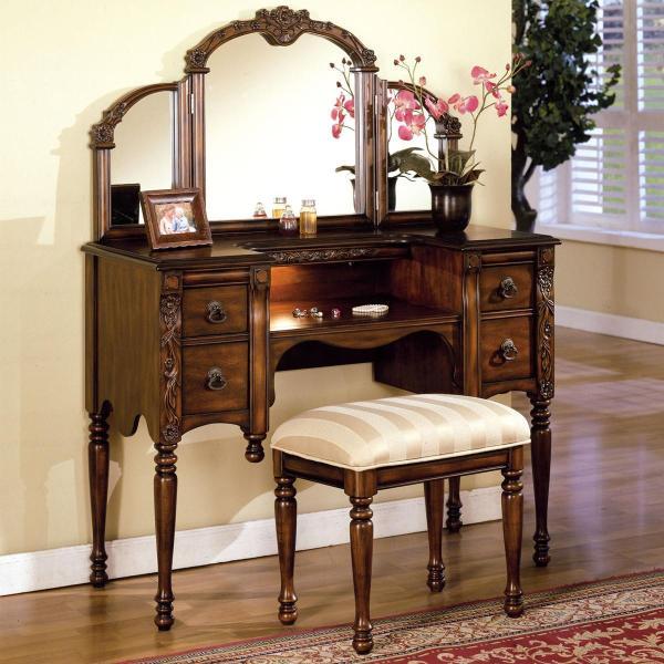 Acme Furniture Ashton Vanity Table Stool And Mirror Set