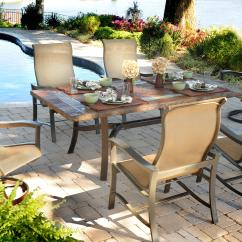 Swivel Rocker Outdoor Dining Chairs Herman Miller Task Chair Agio Majorca 7 Piece Set With 4 Sling And 2 42 By 84 Slate Top Table