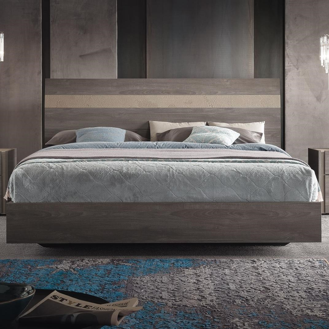 Alf Italia Nizza Pjni0175 Contemporary King Platform Bed With Two Tone Headboard Corner Furniture Platform Beds Low Profile Beds