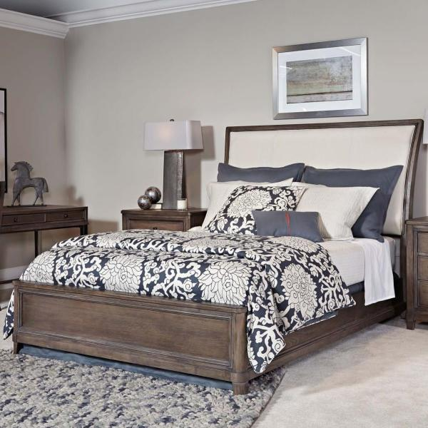 American Drew Park Studio 488-304r Queen Sleigh Bed With Upholstered Headboard Hudson'