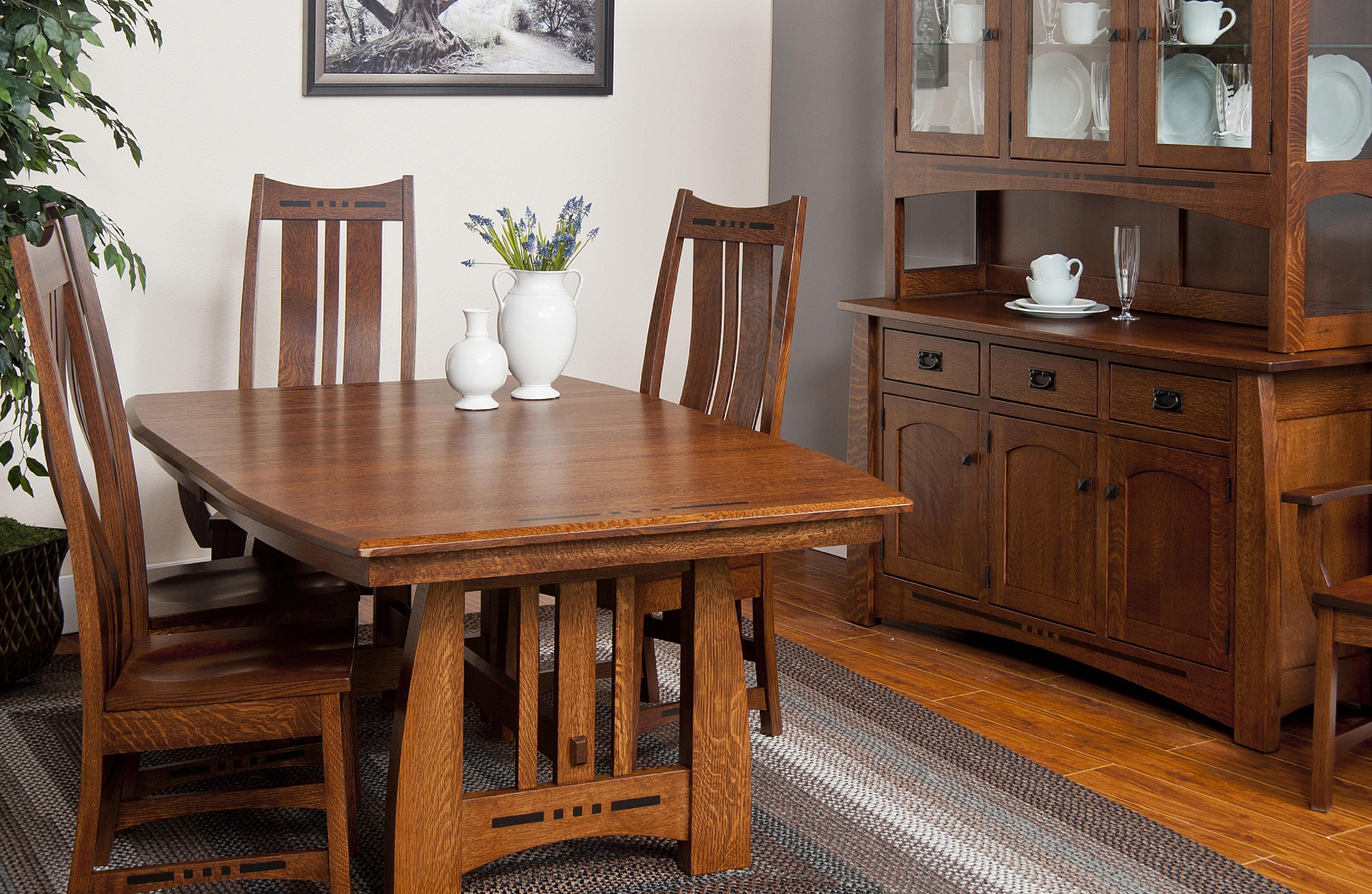 Indiana Amish Owen Amish Dining Table with two 12 leaves