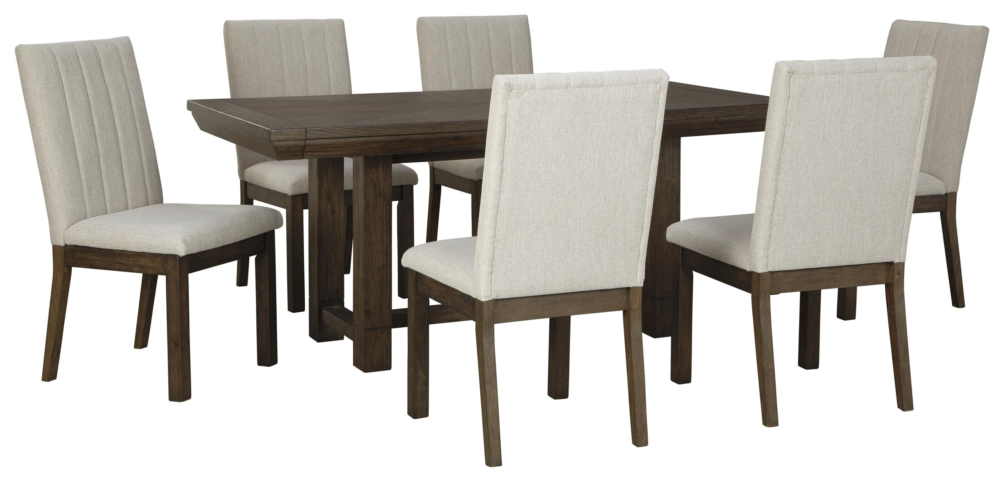 Ashley Furniture Dellbeck D748 45 6x01 7 Piece Dining Room Extension Table And 6 Upholstered Side Chairs Set Sam Levitz Furniture Dining 7 Or More Piece Sets
