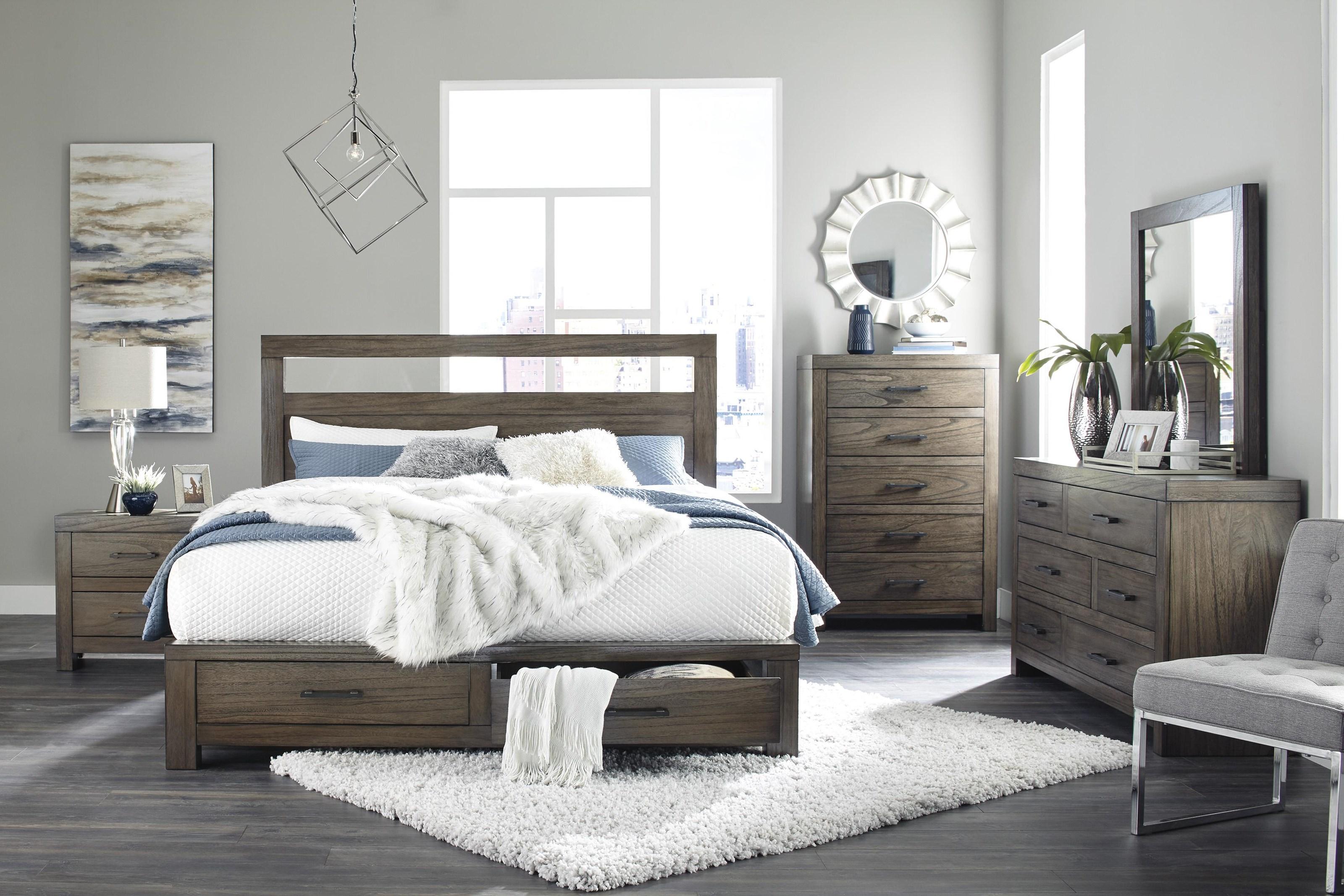 Ashley Furniture Deylin B537 57 54s 31 36 92 Queen Platform Bed With Storage Footboard Dresser Mirror And Nightstand Package Sam Levitz Furniture Bedroom Groups