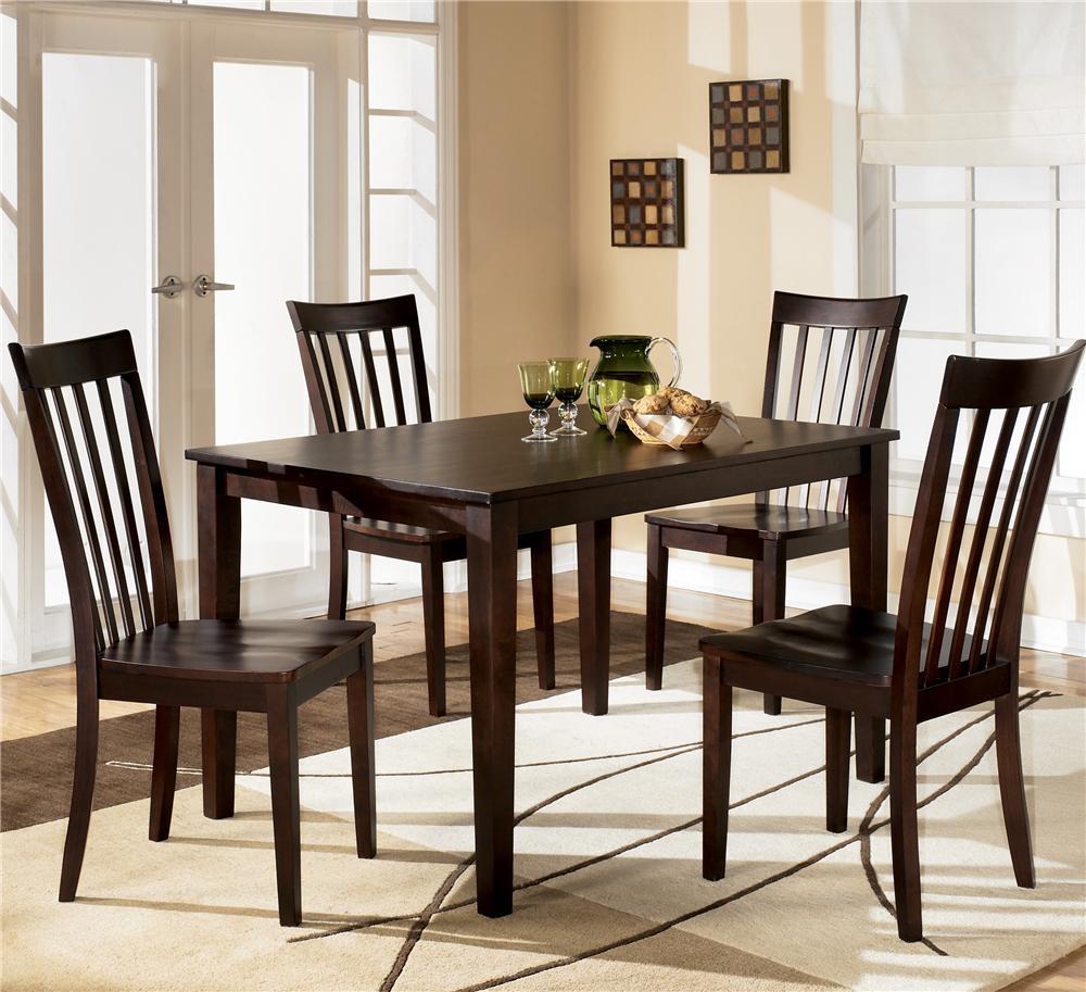 4 chair dining set dark walnut chairs ashley furniture hyland 5 piece with rectangular table