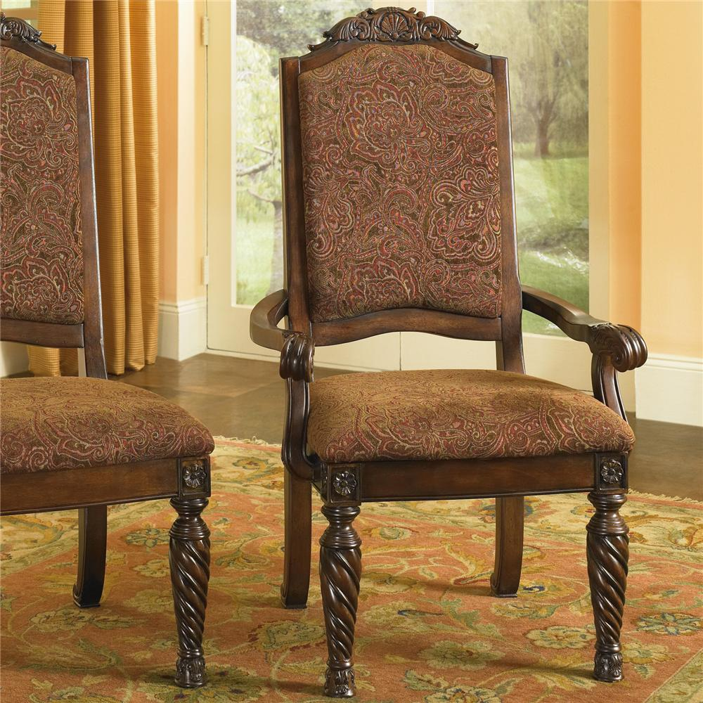 Upholstered Arm Chairs Old World Upholstered Scroll Arm Chair By Millennium At Rotmans