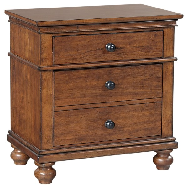 Aspenhome Oxford I07-450-wbr Transitional 2 Drawer Night Stand With Ac Outlets Dunk & Bright