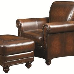 Leather Chair Ottoman Graco High Straps Replacement Bassett Hamilton Traditional And With Nail