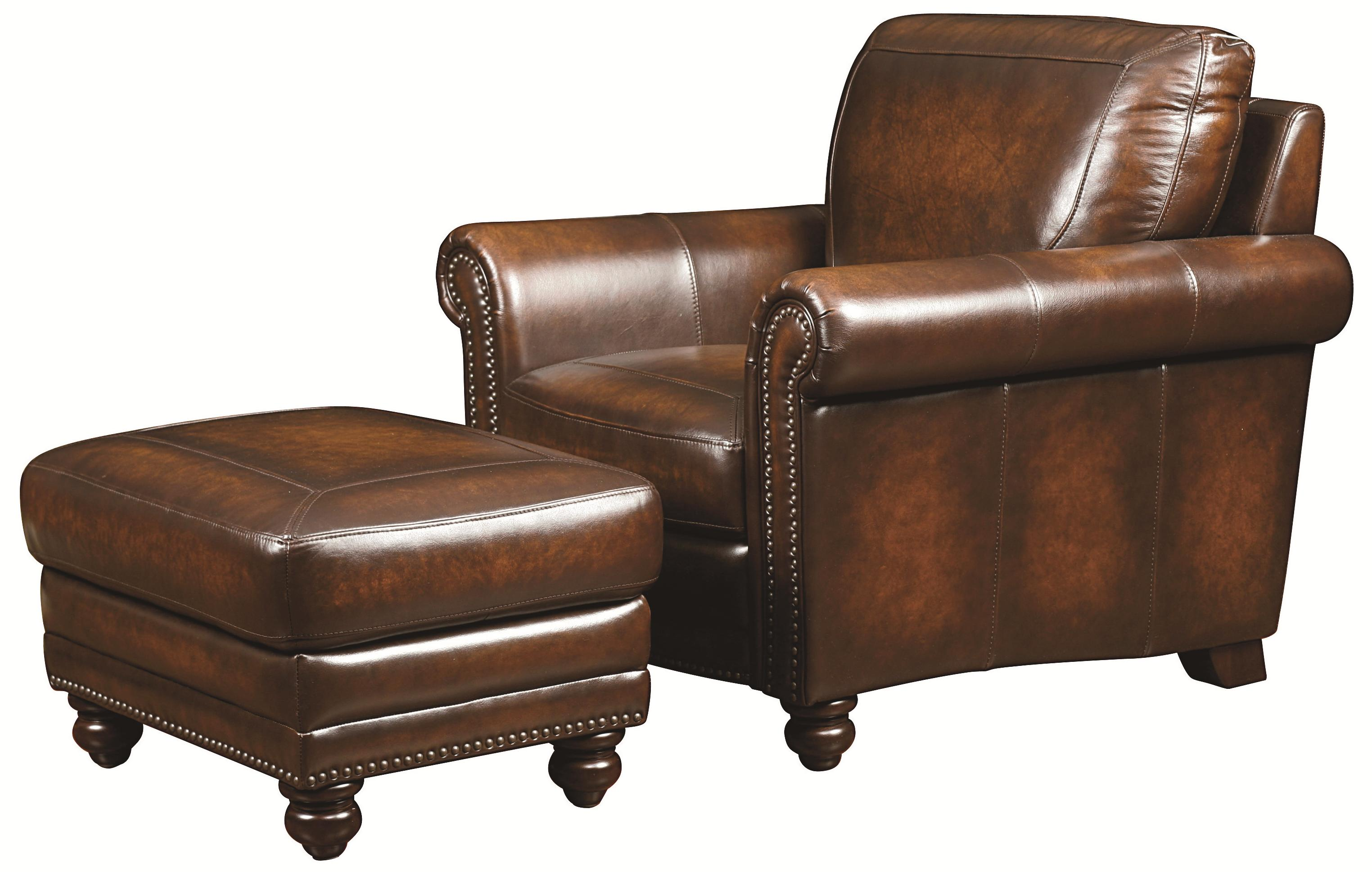 Leather Chairs With Ottoman Hamilton Traditional Leather Chair And Ottoman With Nail Head Trim By Bassett At Virginia Furniture Market