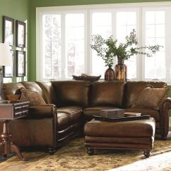 2 Pc Laf Sectional Sofa Cigar Club Leather Bassett Hamilton Traditional L-shaped ...