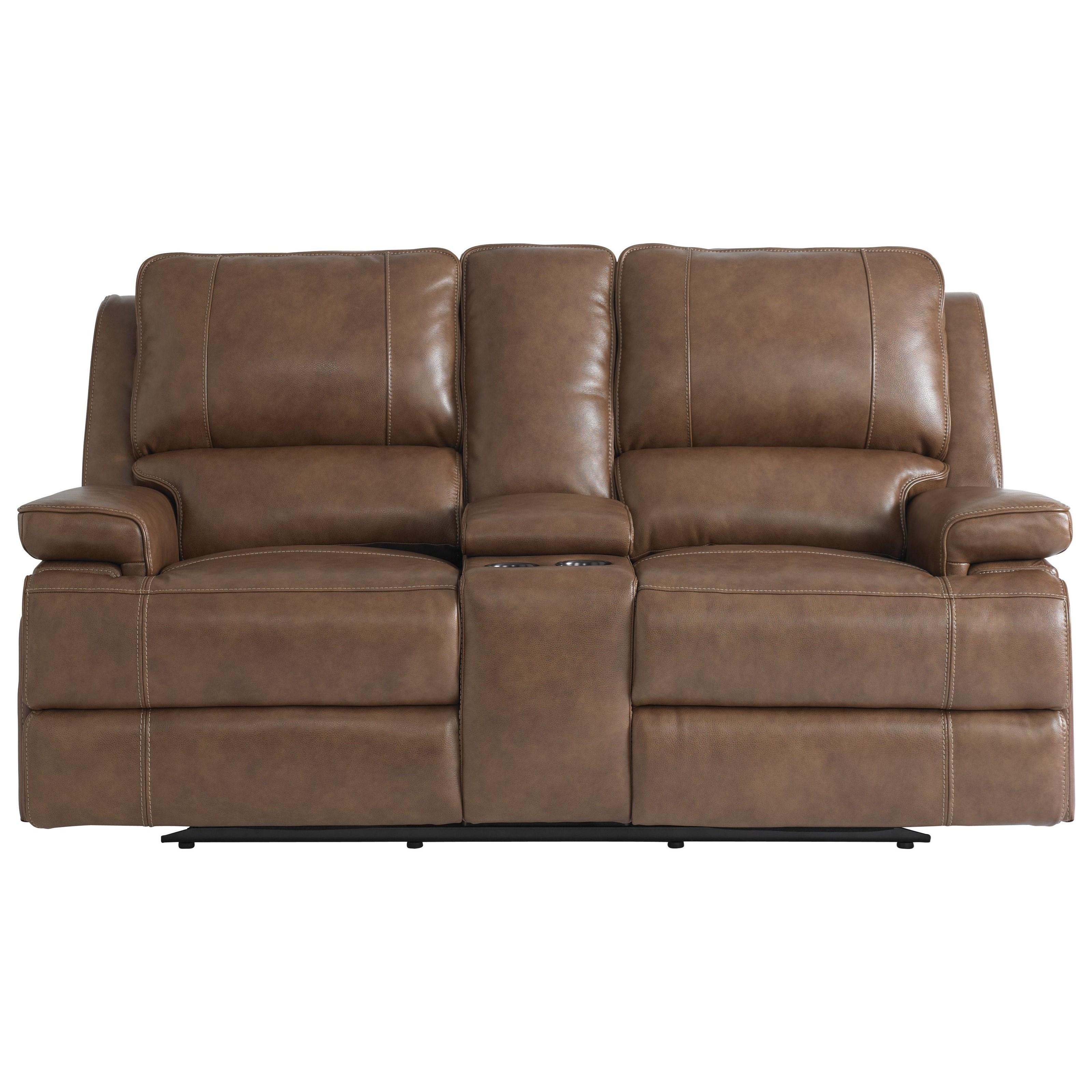double recliner chairs craftsman rocking chair bassett parker club level 3729 pc42u reclining console loveseat w power headrests