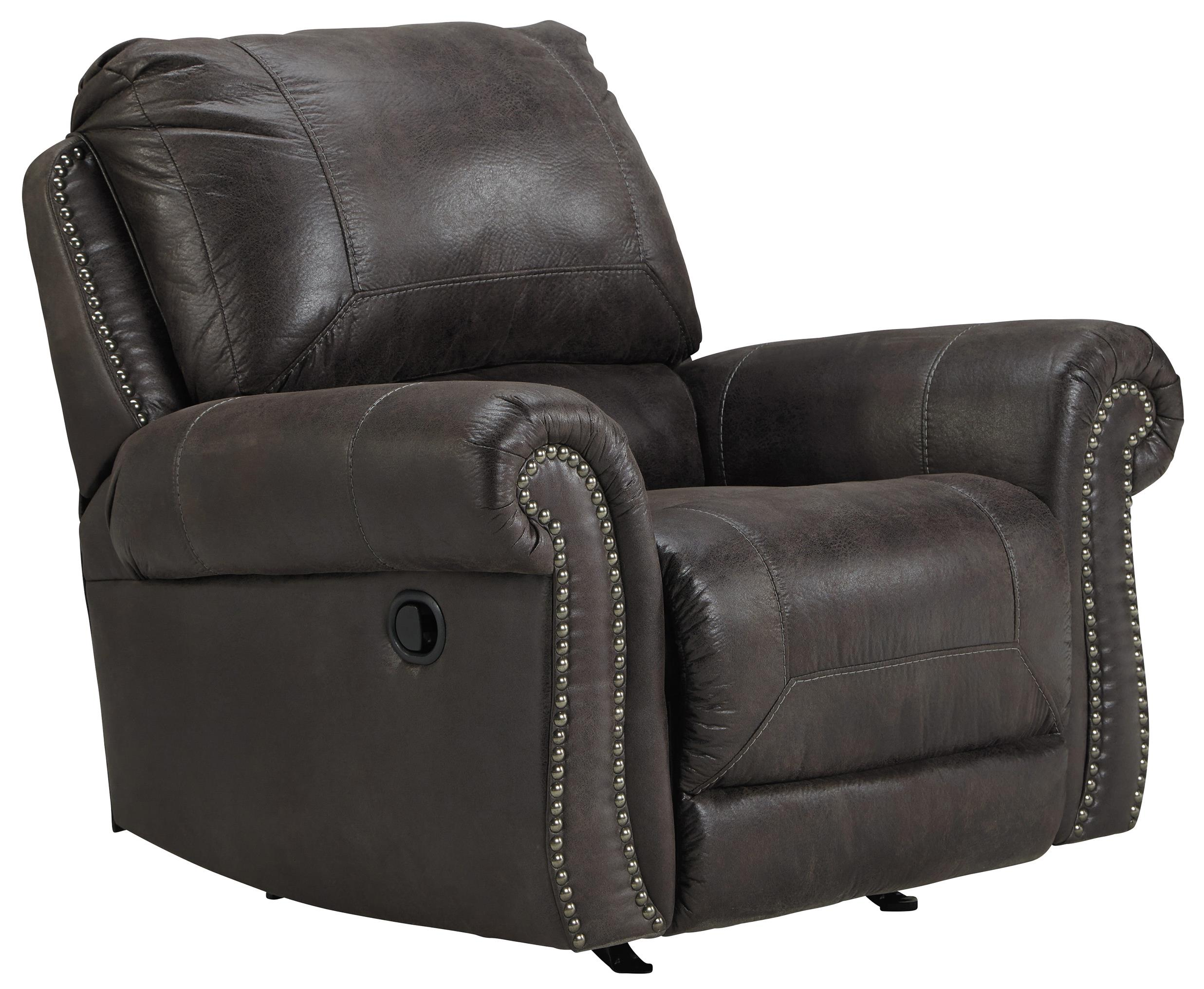 rocker and recliner chair chairs for short people benchcraft breville faux leather with rolled arms