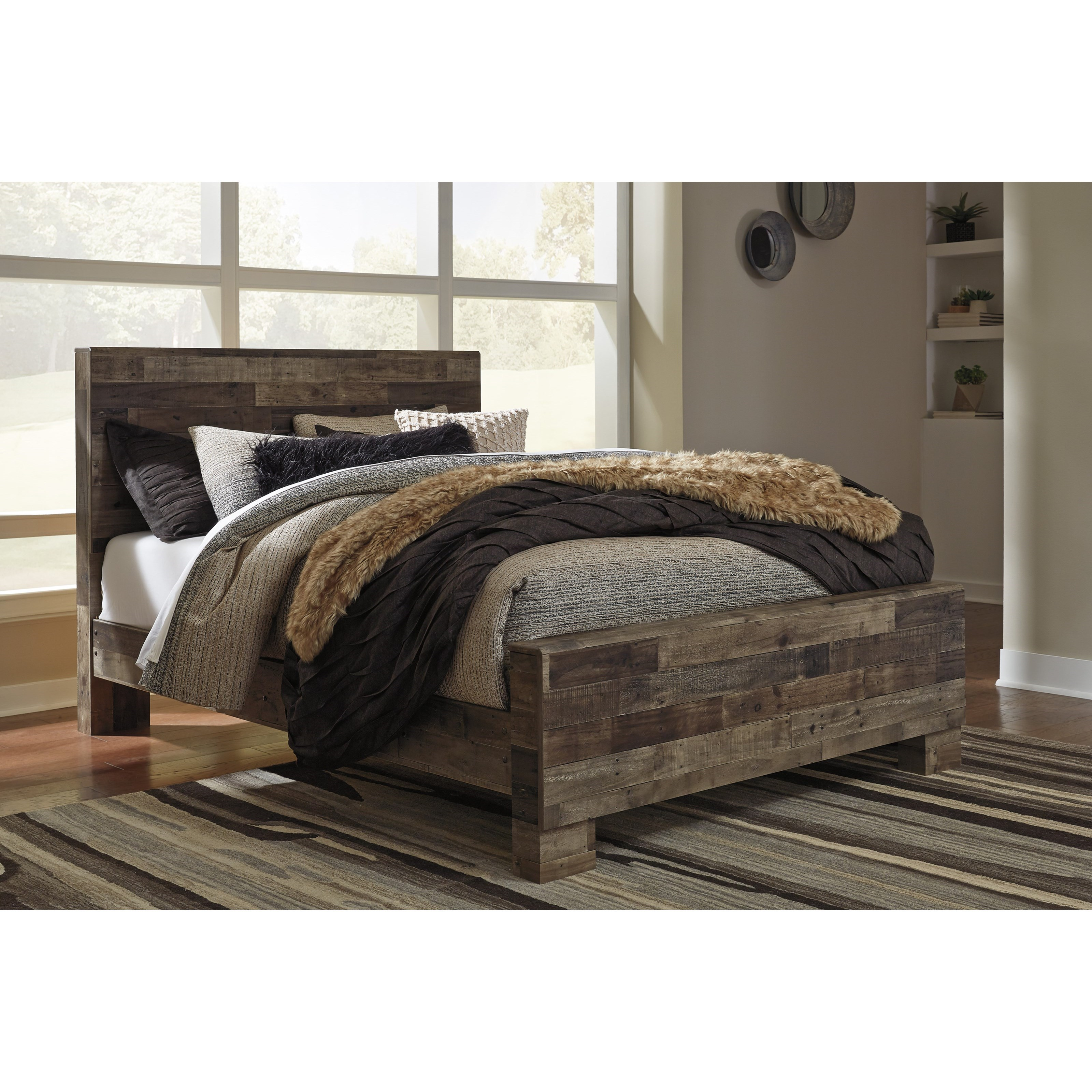 Benchcraft By Ashley Derekson Rustic Modern Queen Panel Bed Royal Furniture Panel Beds