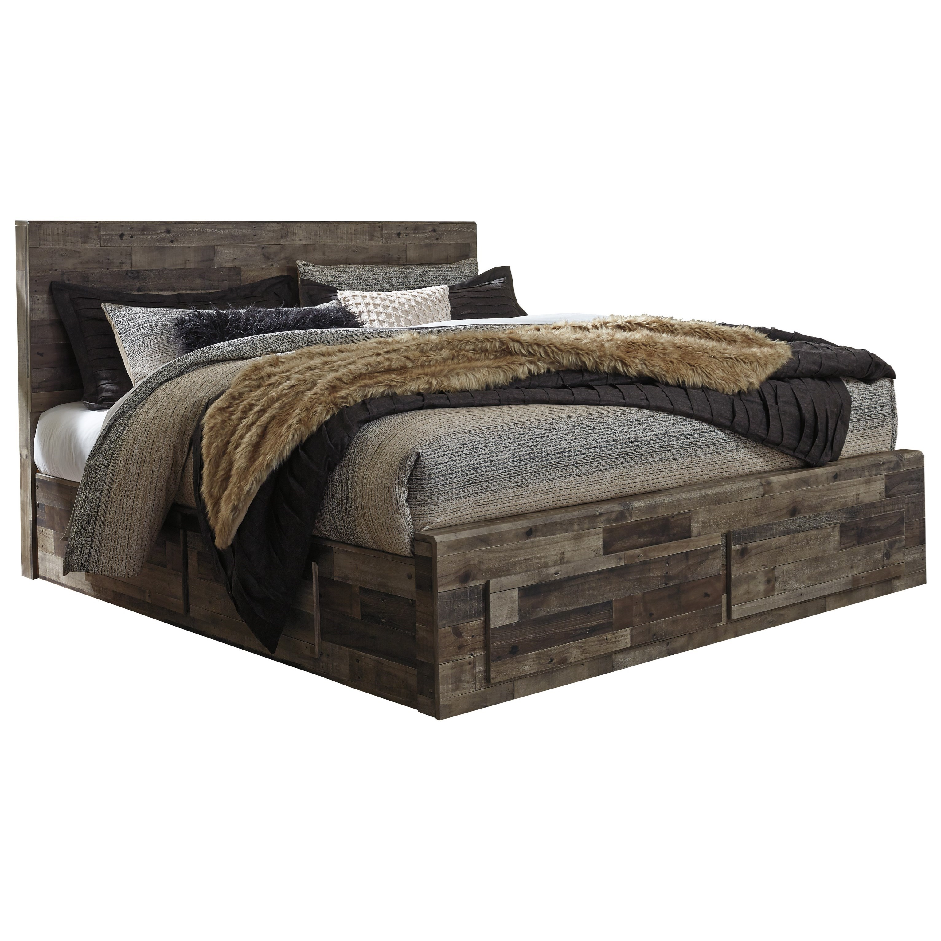 Derekson Rustic Modern King Storage Bed With 6 Drawers