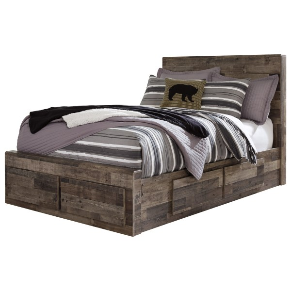 Benchcraft Derekson Rustic Modern Full Storage Bed With 6 Drawers Del Sol Furniture Platform