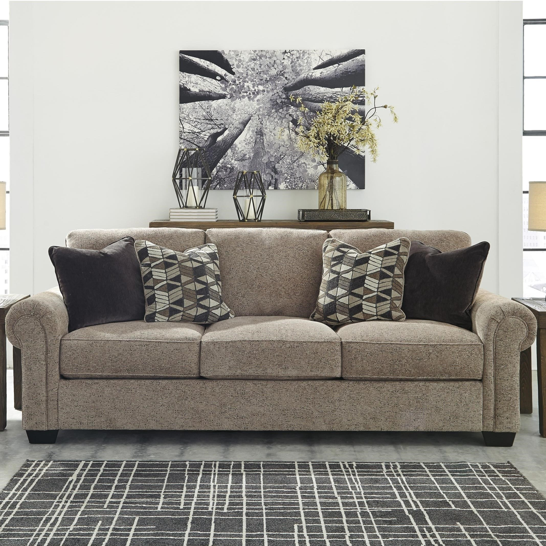 value city furniture living room sets design with wood stove benchcraft fehmarn stationary sofa rolled arms ...