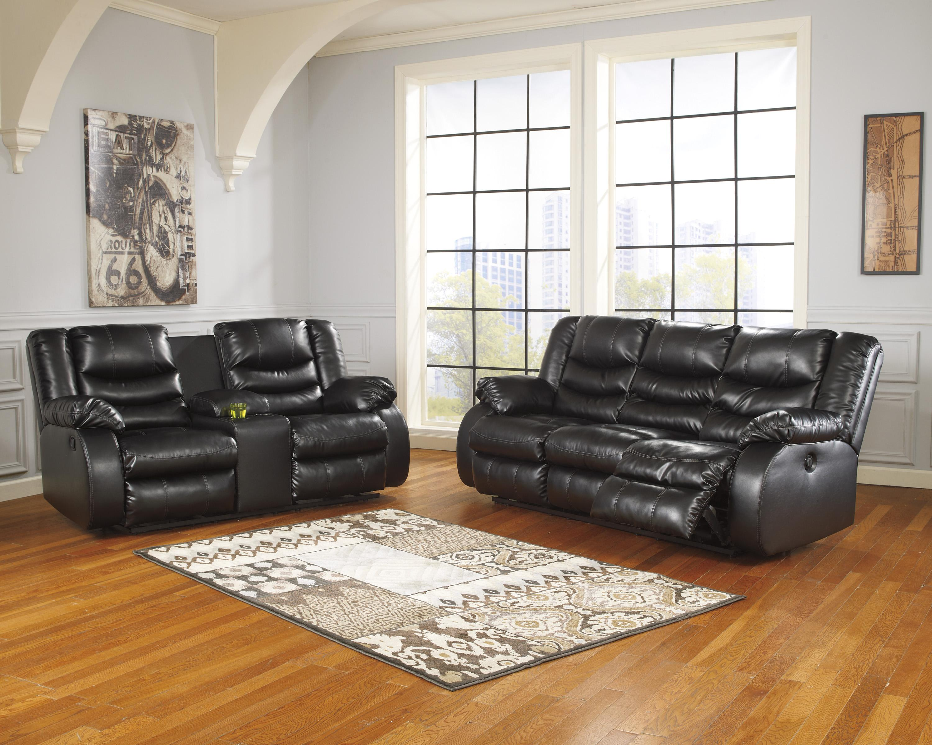 ashley leather sofas and loveseats latest sofa set designs images benchcraft by linebacker durablend black reclining living room group