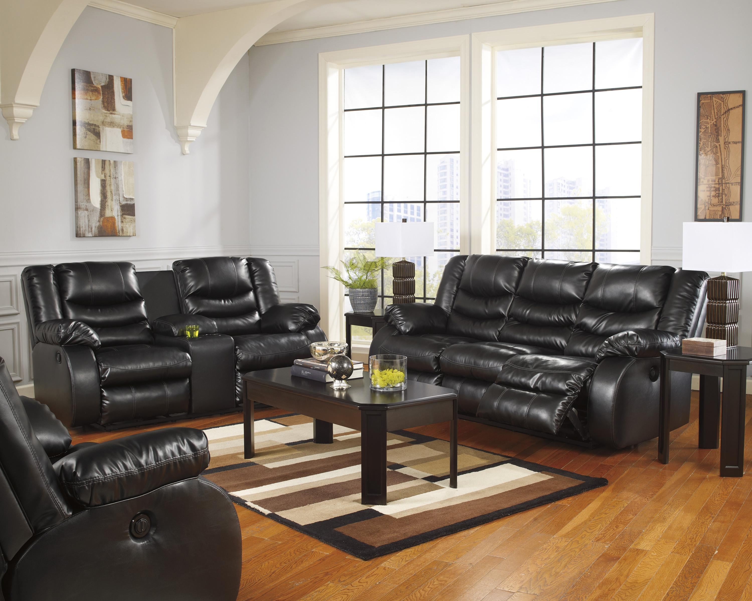 recliner living room set pictures of light grey rooms benchcraft by ashley linebacker durablend black reclining group