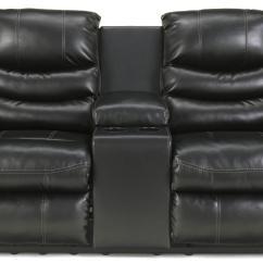Double Recliner Chairs Modloft Dining Benchcraft Linebacker Durablend Black Contemporary Dbl Rec Loveseat W Console