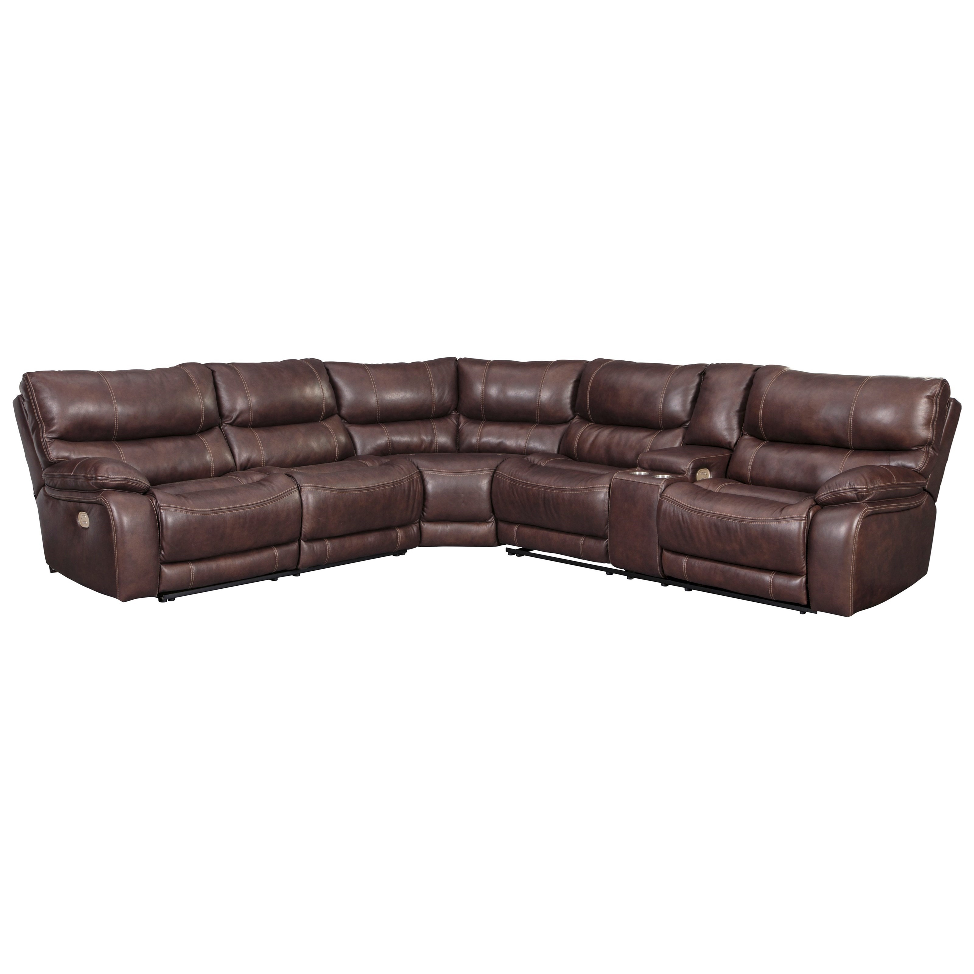 Benchcraft By Ashley Muirfield 3 Piece Leather Match Power Reclining Sectional Royal Furniture Reclining Sectional Sofas