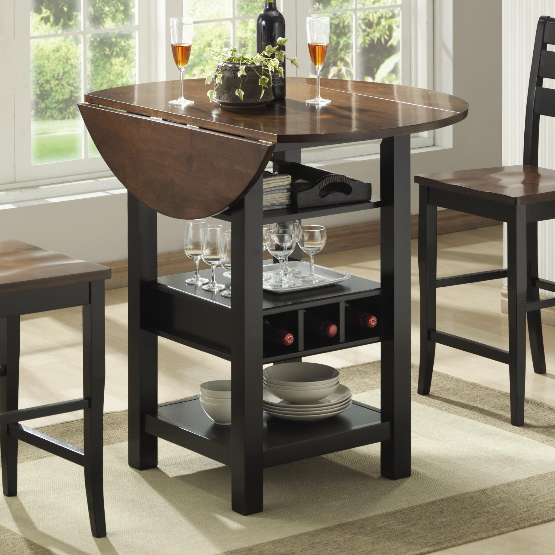 Bar Table With Chairs Ridgewood Drop Leaf Counter Table With Wine Rack By Bernards At Wayside Furniture