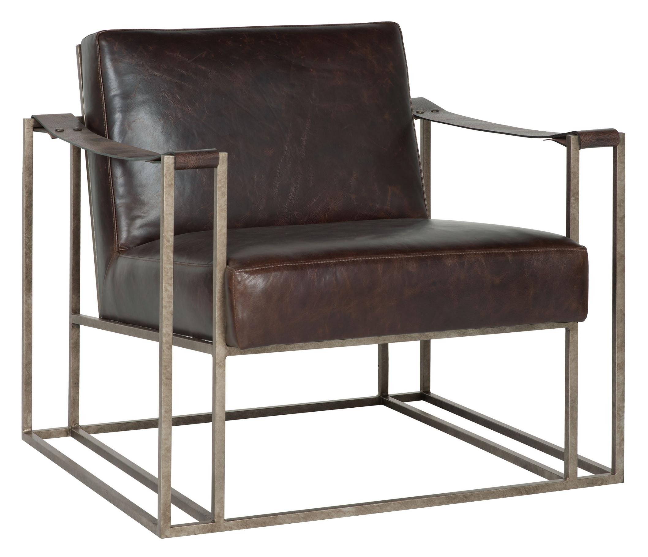 Bernhardt Dekker Industrial Leather Chair with Metal Arms