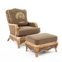 Braxton Culler Shorewood Tropical Rattan Chair and Ottoman ...