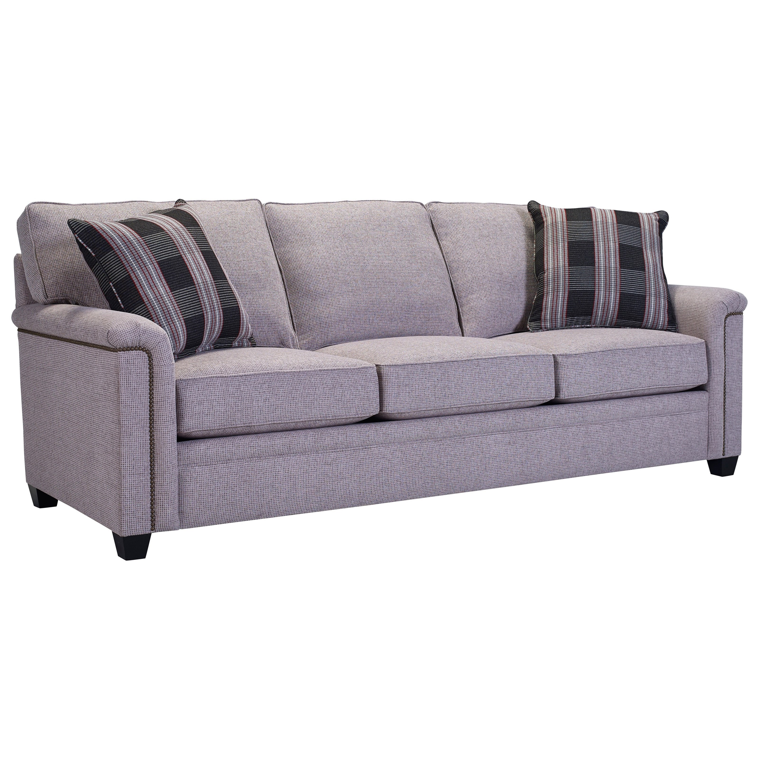 broyhill sleeper sofa olive green decorating ideas furniture warren with nailhead trim accents w goodnight mattress item number 4287 7
