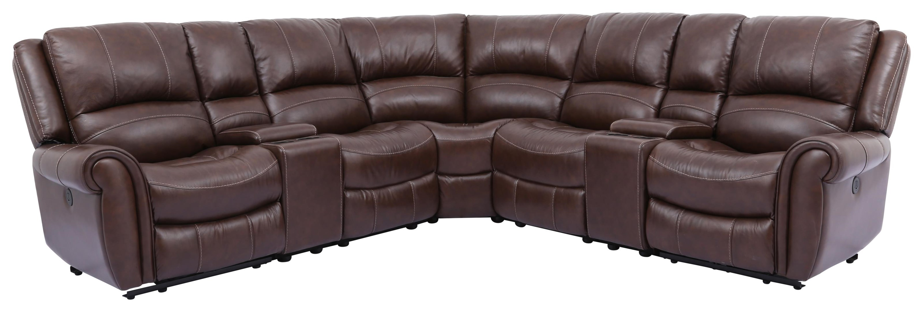 Cheers Rowan Leather 7 Piece Power Reclining Sectional