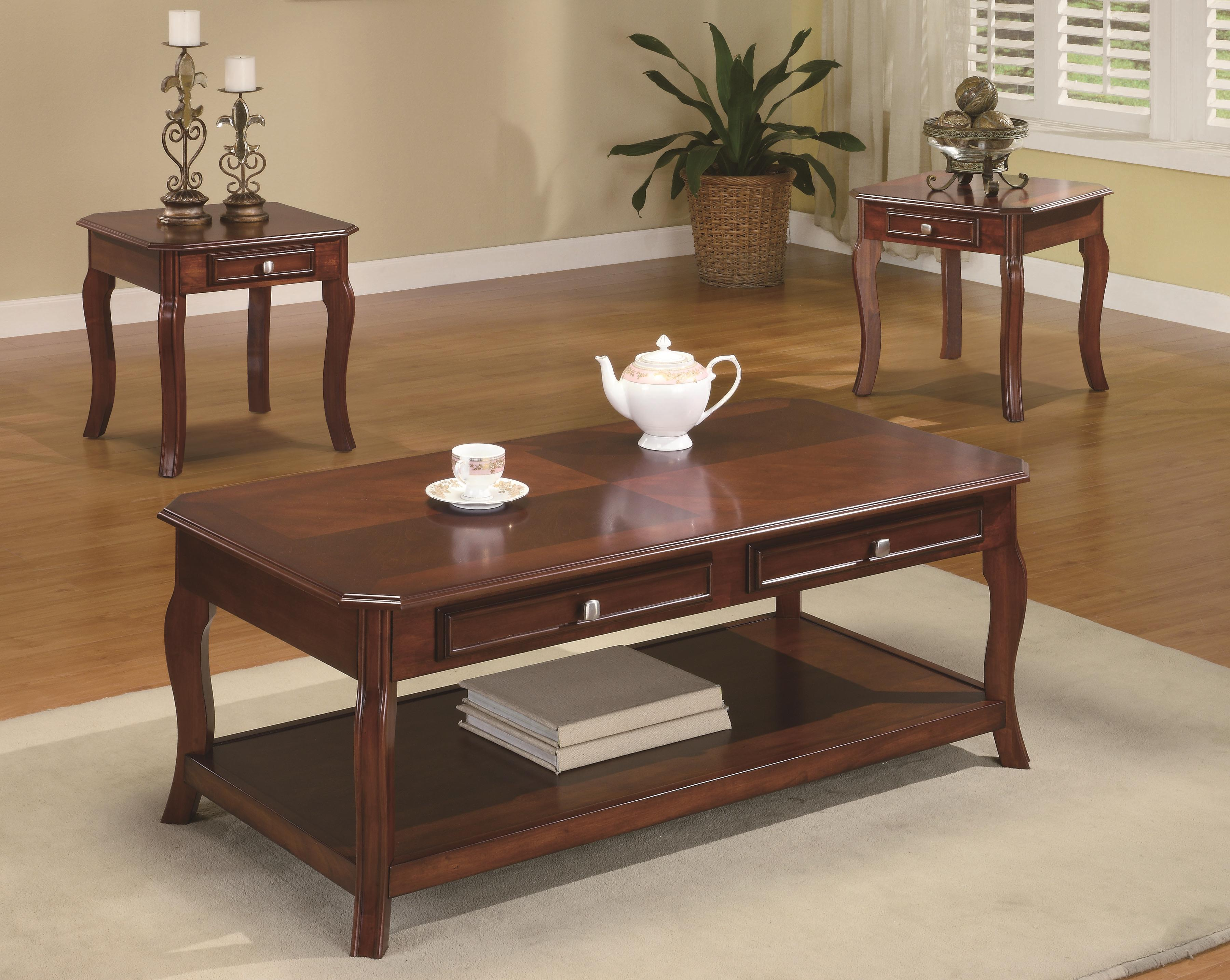 3 piece table set for living room wall coaster occasional sets traditional