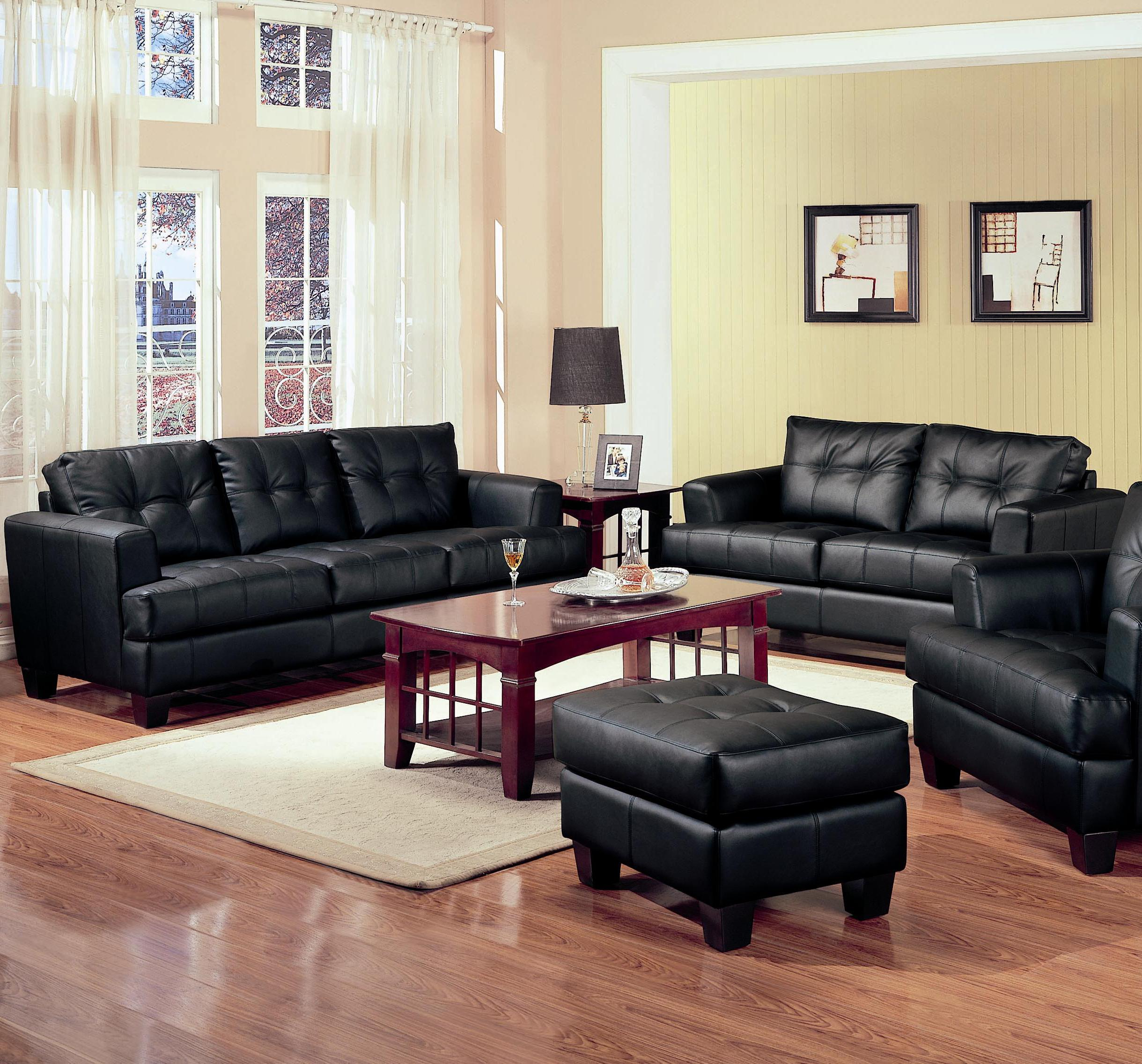 living room color schemes black leather couch 2 sectional ideas coaster samuel piece bonded loveseat and sofa group
