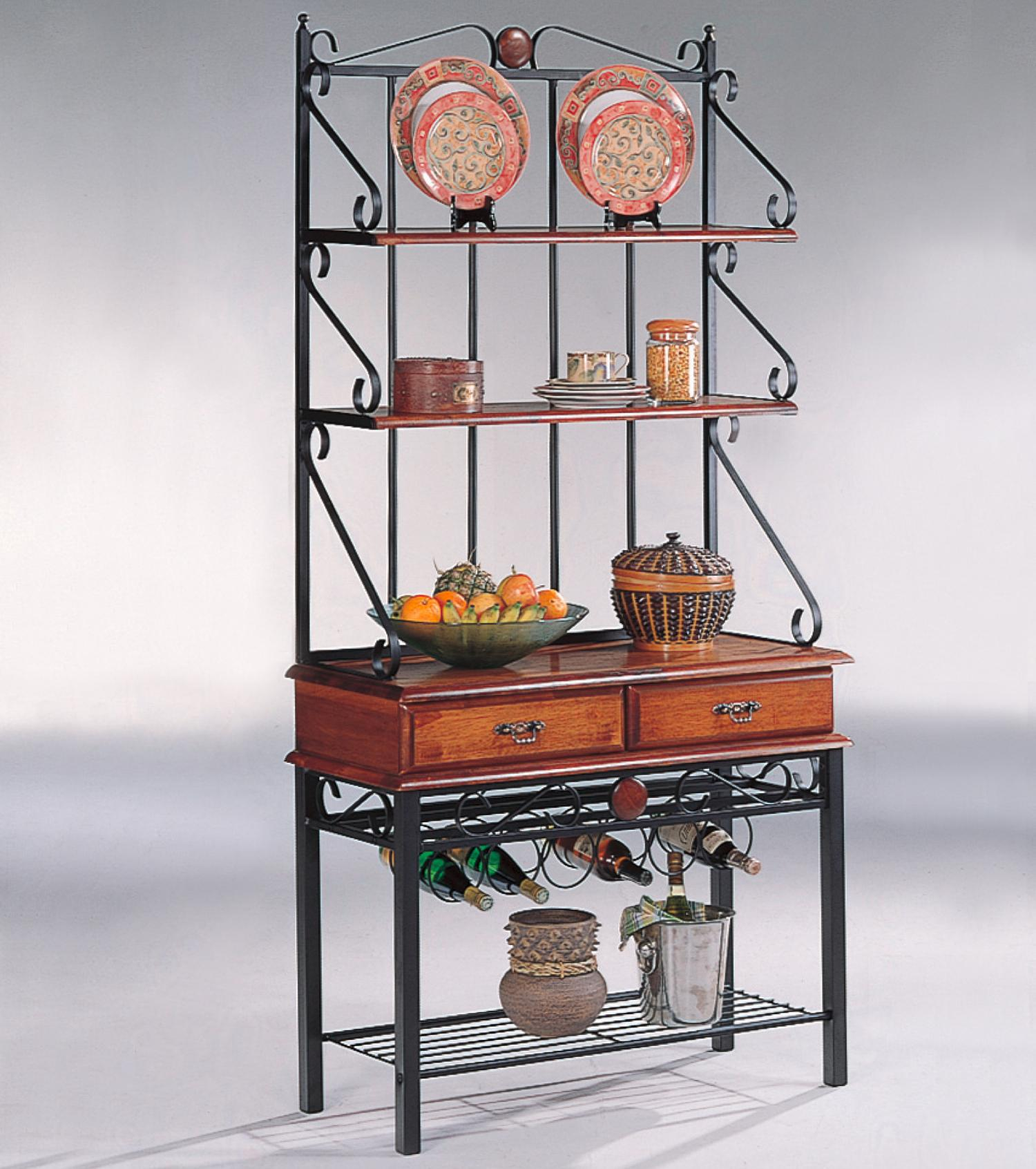 kitchen bakers rack small sinks coaster accent racks 3 shelf cabinet with wine value