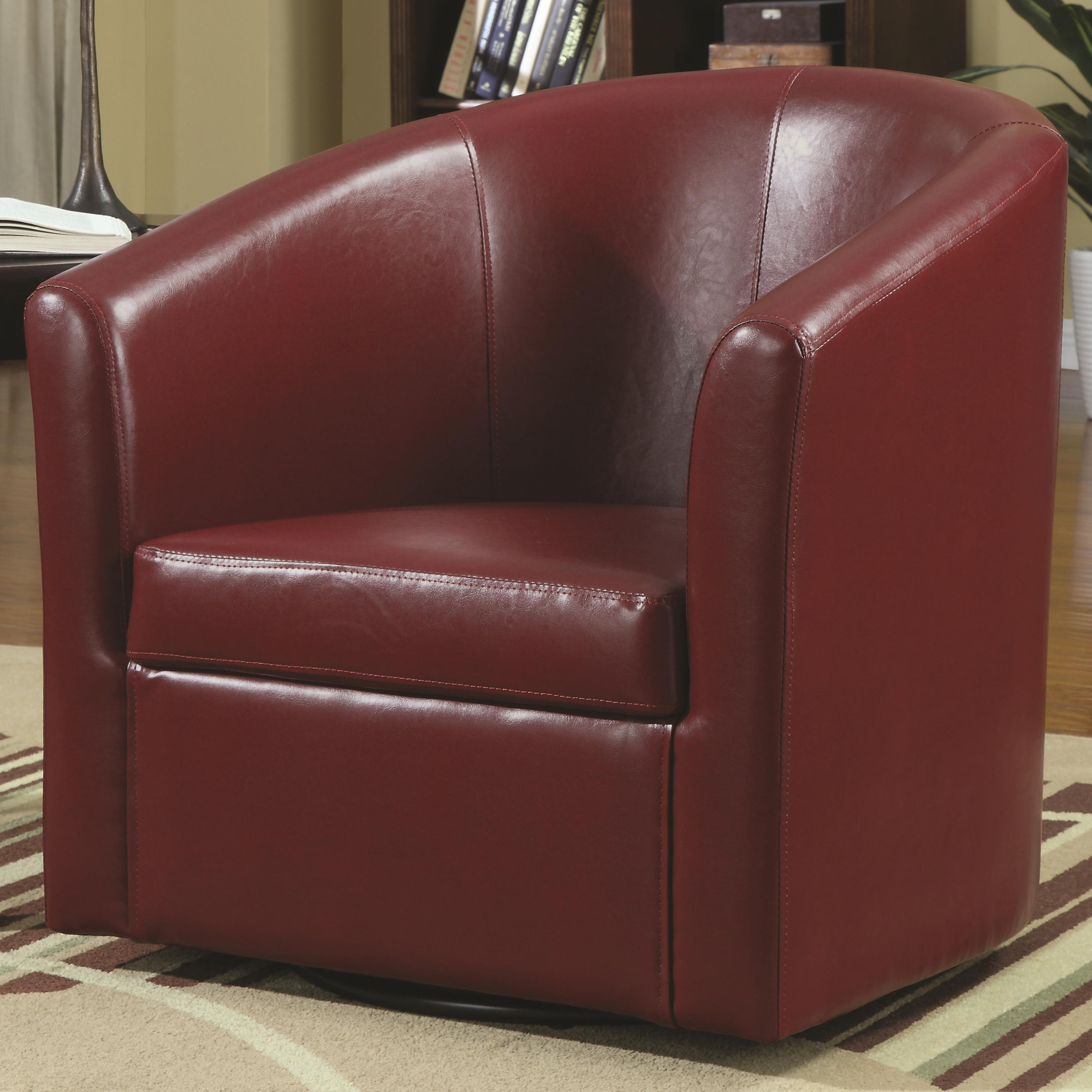 Red Leather Swivel Chair Accent Seating Contemporary Styled Accent Swivel Chair By Coaster At Dunk Bright Furniture