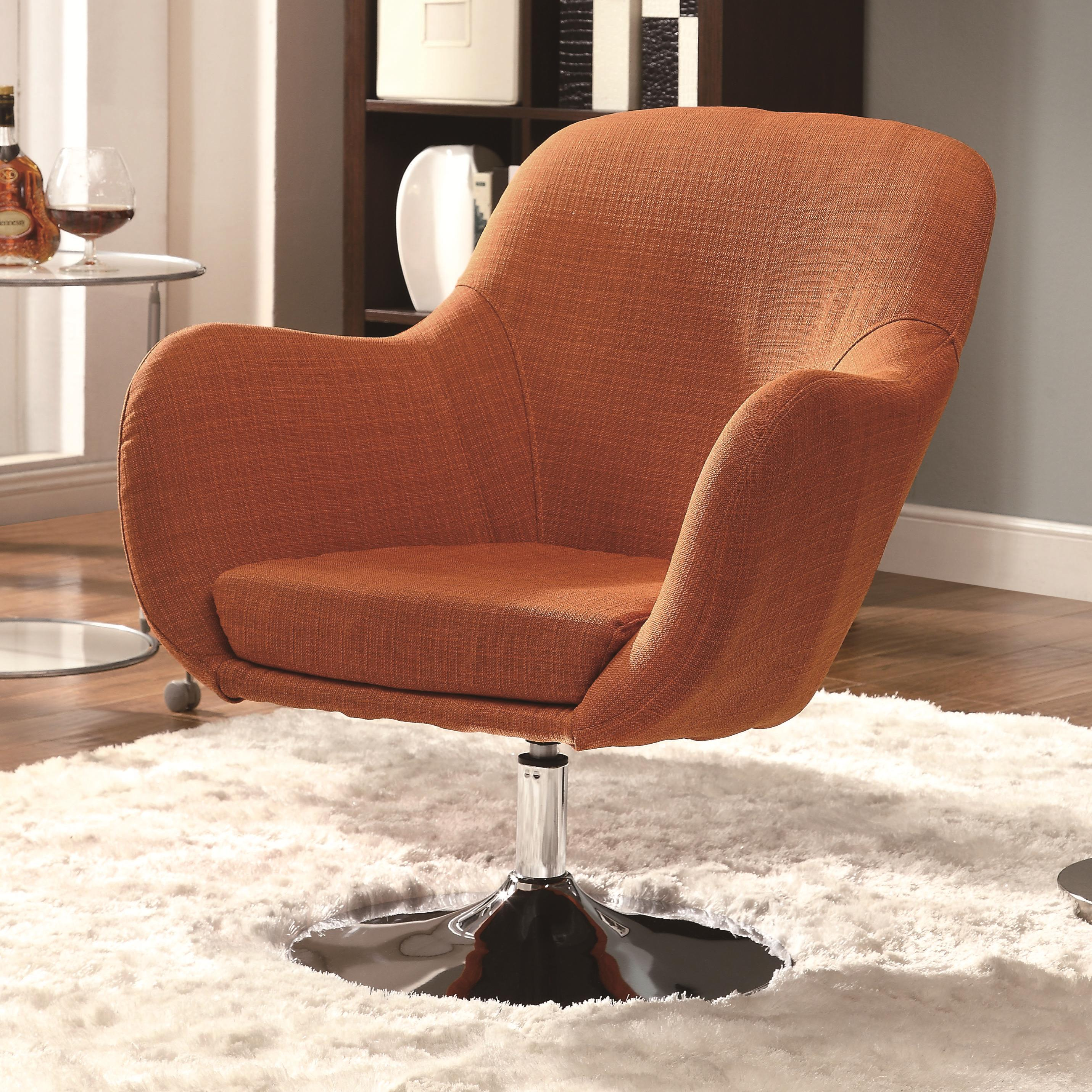 orange upholstered chair heavy duty lift chairs coaster accent seating 902148 retro swivel miller home