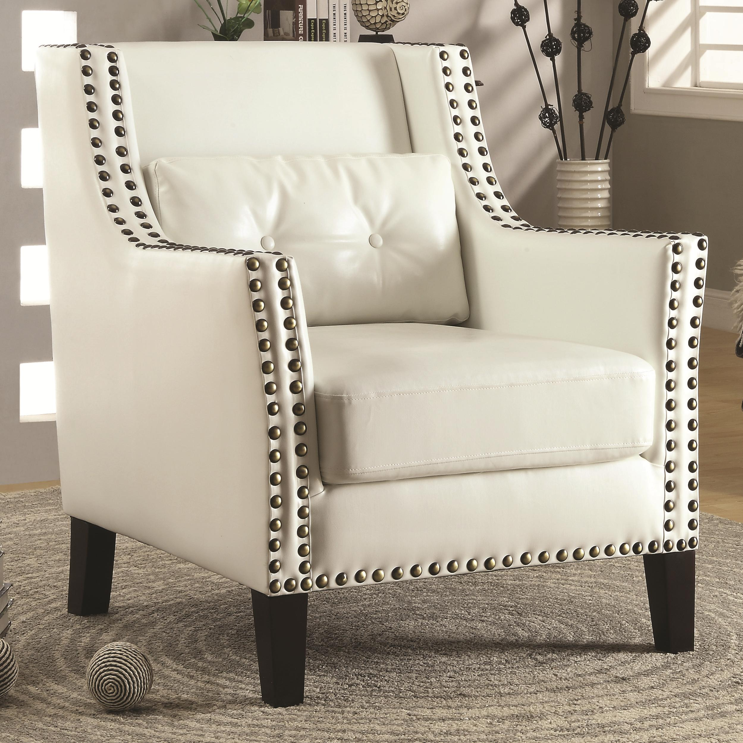 White Wing Chair Accent Seating Transitional Wing Chair With Nail Heads By Fine Furniture At Del Sol Furniture
