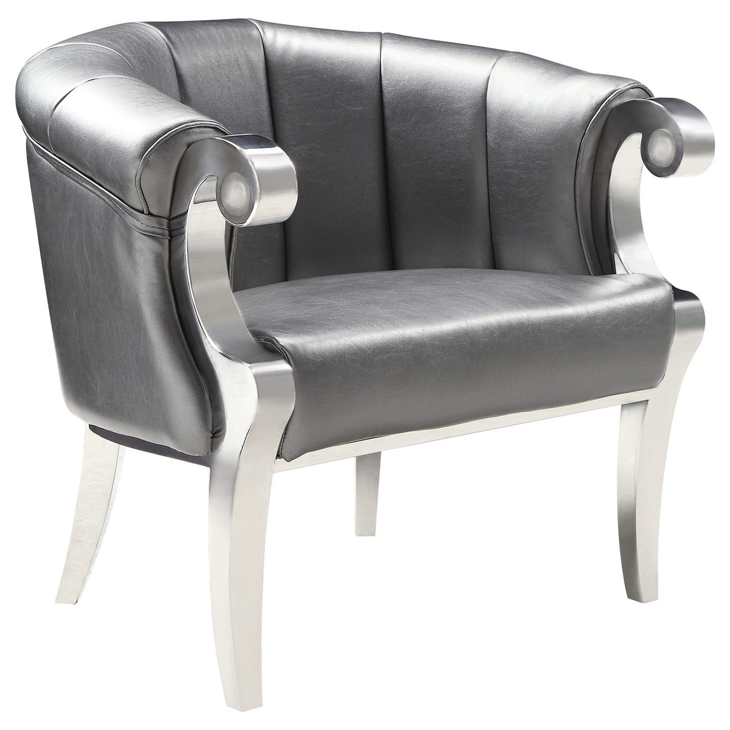 Coaster Accent Chair Accent Seating Glam Accent Chair With Scroll Armrests By Coaster At Value City Furniture