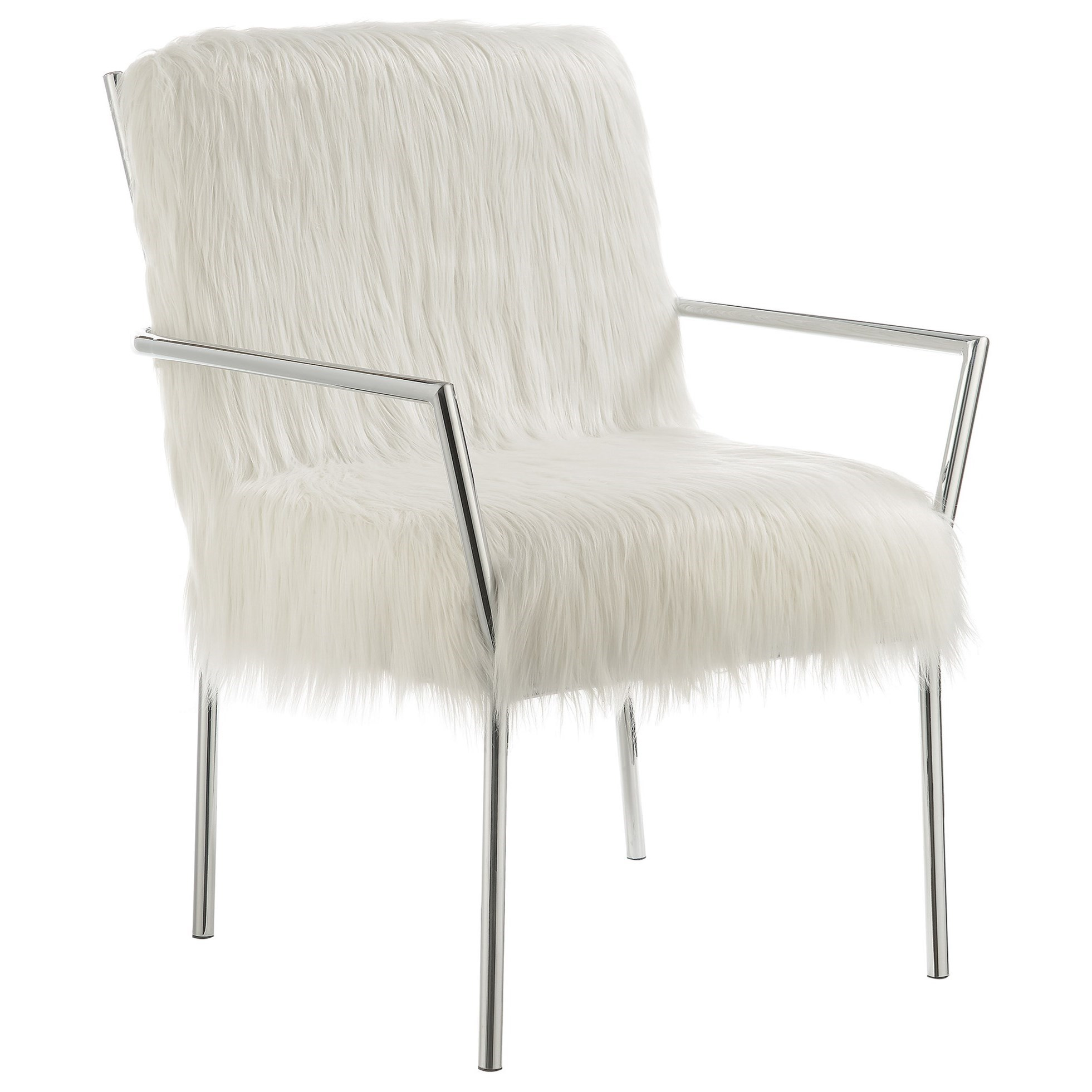 Coaster Accent Chair Accent Seating Contemporary Accent Chair With Faux Sheepskin By Coaster At Sam Levitz Furniture