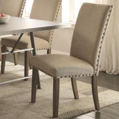 Upholstered Chair With Nailhead Trim Wedding Reception Chairs Coaster Amherst Casual Parson Tan Fabric Upholstery And