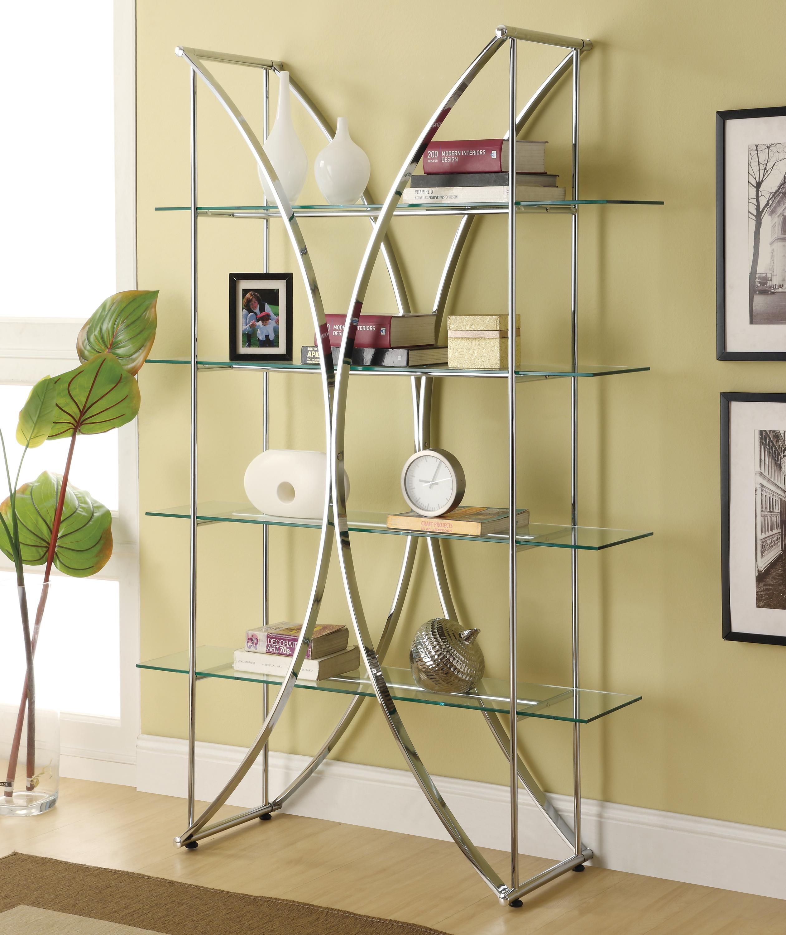 Coaster Bookcases X Motif Chrome Finish Bookshelf With
