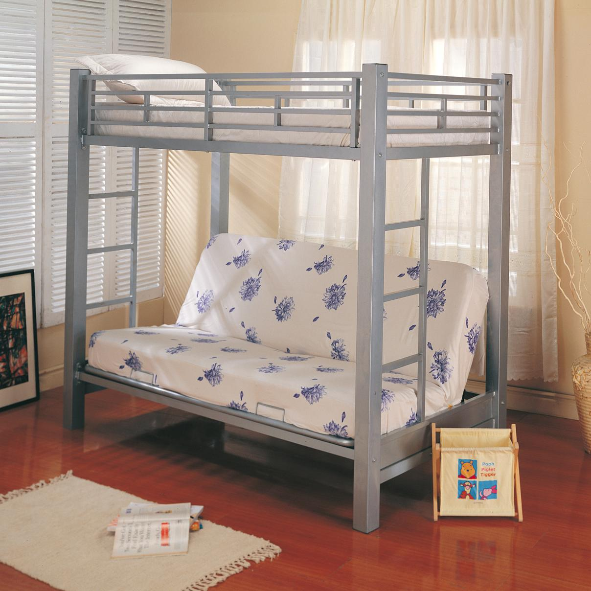 Coaster Bunks Twin Over Futon Metal Bunk Bed with Futon Mattress  Dunk  Bright Furniture